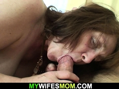 Busty mother in law rides his  youthfull dick