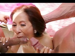 Asian grannie doublefucked while her  is out