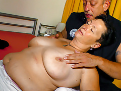 AMATEUR European - German Plump Grandmother Seduced By Mature Man