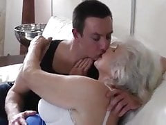 Hot granny and young man entices each other