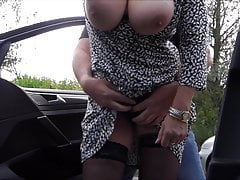 insane grandmother with big tits on the road
