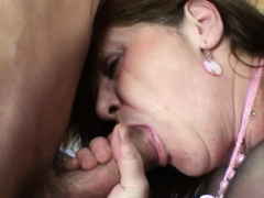 Big tits office granny in stockings takes double penetration