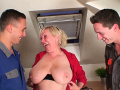 Very old busty granny  two men