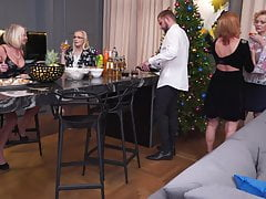 Mature mothers sharing toy boy on fucky-fucky party