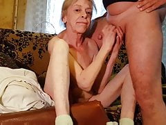 Rusian gray-haired lean granny husband always cums on melons