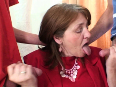 Huge-chested hairy-pussy office granny double penetration