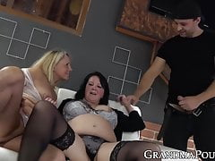 Threeway with two slutty grannies  for youthful salami