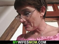 Son in law fucks her old hairy vagina and gets blasted