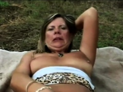Outdoor sex for a immense titty granny