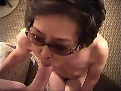 Japanese granny sucking added to taking cum