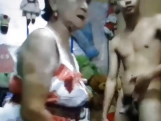 Asian Granny With Young Boy