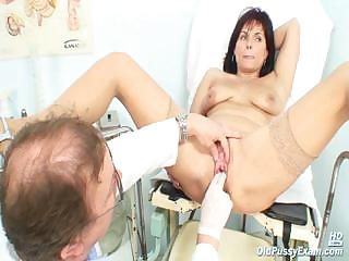 Matured Livie pussy examination by horny kinky gyno doctor