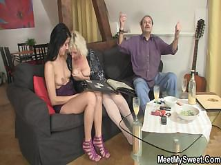 Sweetie gets lured into threesome by the brush BF's parents