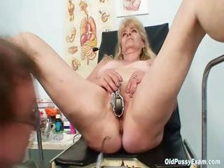 Blond grandma kinky pussy exam in enema