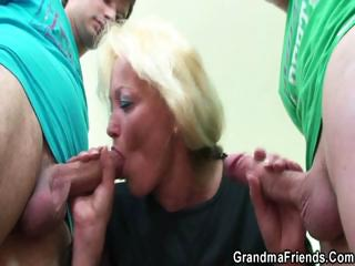 Two dudes bang nasty elderly teacher