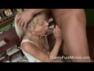 Young beam pounding a skinny granny