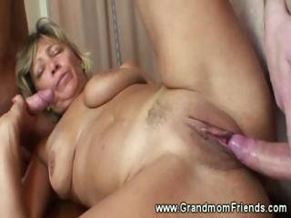 Hot grandma fucked beyond table hard by duo individuals