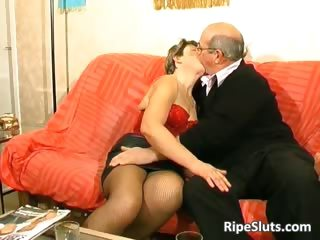 Horny of age slut gets fucked by two part4