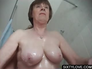 Adult gets snatch washed in shower