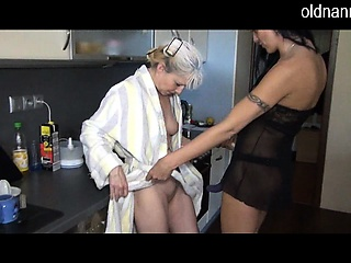 Hot granny fucking team a few joyless join in matrimony with shaved pussy in kitchen