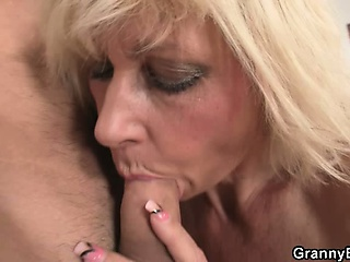 Blonde allows him sink will not hear of old snatch