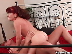 hot grandmother gets her small  covered in cum