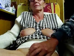 Grandfather drains his wife with fingers