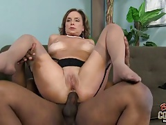Cute grannie gets creampie after interracial rectal fuck-a-thon