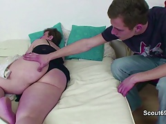 not Grandson Entice Grandmother to Fuck his Youthful Dick
