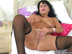 British milf Raven strips off and teases her pussy