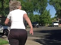 Round Backside GILF with Curly Grey Hair