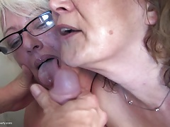 Grannies and moms fuck boy on kitchen
