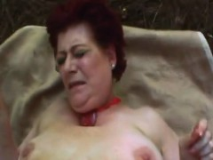 Redhead granny ravaged rock hard in outdoor