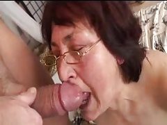 Hairy granny in glasses fucked by boy