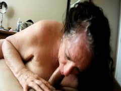 Granny luvs in a large rigid dick her mouth