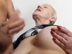 Cum on granny's bra-stuffers