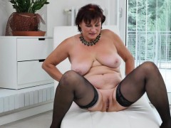 gilf Danja strips off and dildo fucks herself
